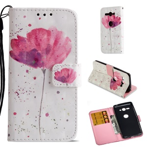 For Sony Xperia XZ2 Compact Patterned PU Leather Wallet Magnetic Mobile Cover - Flower