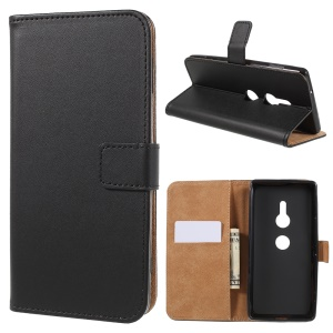 Wallet Leather Stand Case for Sony Xperia XZ2 - Black