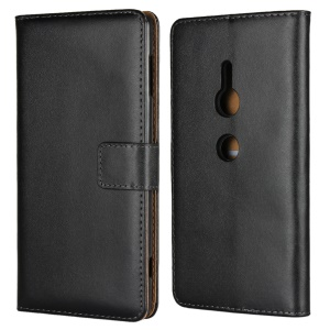 Genuine Leather Wallet Stand Phone Case for Sony Xperia XZ2 - Black