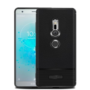 Litchi Texture Brushed TPU Back Phone Case for Sony Xperia XZ2 - Black