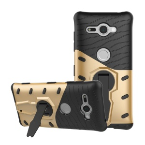 Armor PC + TPU Hybrid Back Phone Case with Kickstand for Sony Xperia XZ2 Compact - Gold