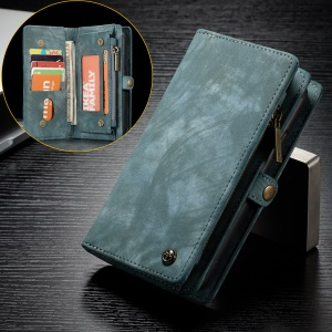 CASEME Vintage Split Leather Multi-slot Wallet Cover for Sony Xperia XZ2 Compact - Blue