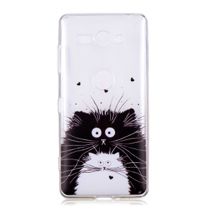 Pattern Printing Soft TPU Cell Phone Case for Sony Xperia XZ2 Compact - Cat Couple