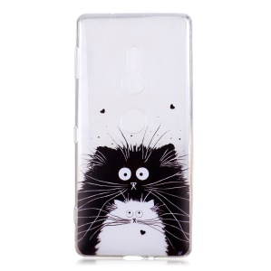 Pattern Printing Soft TPU Shell for Sony Xperia XZ2 - Cat Couple