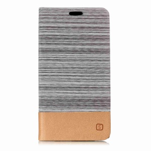Assorted Color Linen Leather Flip Cover with Stand for Sony Xperia L2 - Light Grey