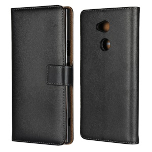 Split Leather Wallet Magnetic Mobile Cover for Sony Xperia XA2 Ultra - Black
