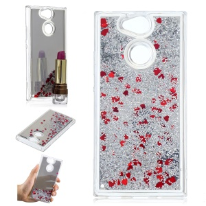 For Sony Xperia XA2 Glitter Floating Quicksand Mirror Surface TPU Mobile Case - Silver