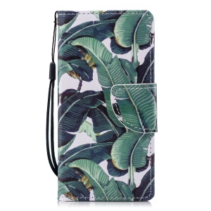 Pattern Printing Wallet Stand Leather Case Accessory for Sony Xperia XZ2 Compact - Green Leaves