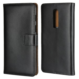 Split Leather Wallet Stand Flip Cover Case for OnePlus 6 - Black