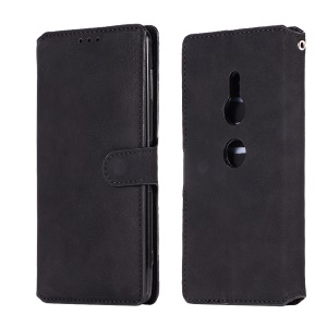 Vintage Style Wallet PU Leather Stand Protection Cover Accessory for Sony Xperia XZ2 - Black