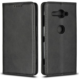 Auto-absorbed Leather Wallet Stand Mobile Case for Sony Xperia XZ2 Compact - Black
