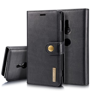 DG.MING Detachable 2-in-1 Split Leather Wallet Shell + PC Back Case for Sony Xperia XZ2 - Black