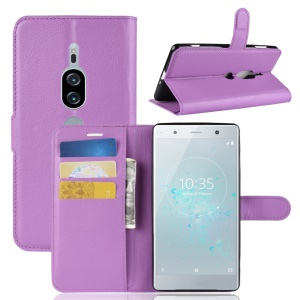 Litchi Skin PU Leather Magnetic Wallet Stand Cell Phone Cover for Sony Xperia XZ2 Premium - Purple