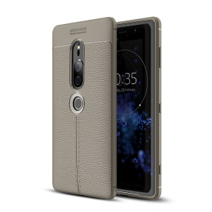 Litchi Texture TPU Mobile Phone Case Shell for Sony Xperia XZ2 Premium - Grey