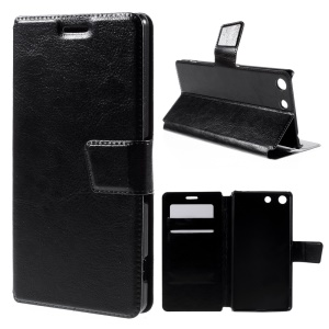 Crazy Horse Stand Leather Case for Sony Xperia M5 E5603 / M5 Dual E5633 with Card Holder - Black