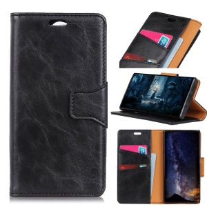 Crazy Horse Split Leather Wallet Stand Phone Case for Sony Xperia XZ3 - Black