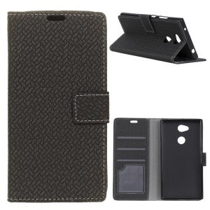 Woven Texture Wallet Stand Leather Flip Phone Case for Sony Xperia XA2 Plus - Black