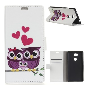 Pattern Printing Stand Leather Wallet Phone Case for Sony Xperia XA2 Plus - Sweet Owl Family