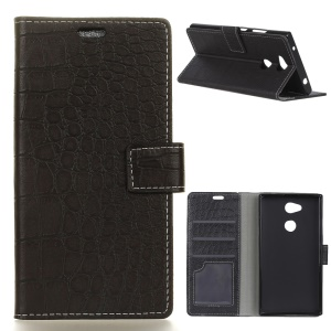 Vintage Crocodile Texture PU Leather Wallet Protective Case for Sony Xperia XA2 Plus - Black