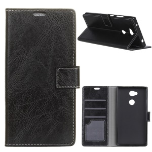 Crazy Horse Wallet Leather Stand Case for Sony Xperia XA2 Plus - Black