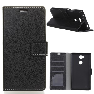 Litchi Skin Wallet Leather Stand Case for Sony Xperia XA2 Plus - Black