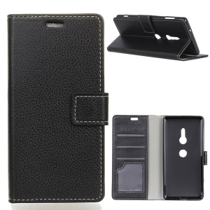 Litchi Skin Wallet Leather Stand Case for Sony Xperia XZ3 - Black