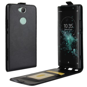 Crazy Horse Vertical Flip Card Holder Leather Case for Sony Xperia XA2 Plus - Black