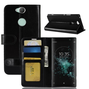 Crazy Horse Magnetic Stand Wallet Leather Mobile Phone Cover for Sony Xperia XA2 Plus - Black