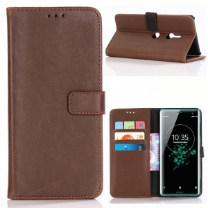 Crazy Horse Texture Vintage Leather Wallet Mobile Phone Shell for Sony Xperia XZ3 - Coffee