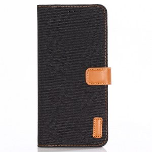 Oxford Cloth Leather Wallet Stand Shell for Sony Xperia XZ3 - Black