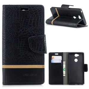 Crocodile Texture Splicing PU Leather Wallet Protective Case for Sony Xperia XA2 Plus - Black