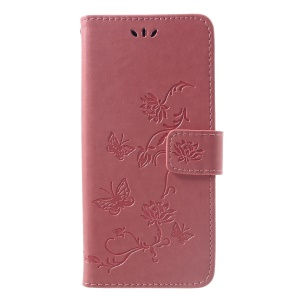 Imprint Butterfly Flower Magnetic Wallet PU Leather Stand Casing for Sony Xperia XZ3 - Rose Gold