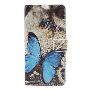 Pattern Printing PU Leather Magnetic Wallet Stand Shell for Sony Xperia XZ3 - Blue Butterfly