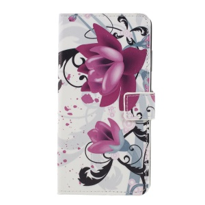 Pattern Printing PU Leather Magnetic Wallet Stand Flip Cover for Sony Xperia XZ3 - Purple Flower