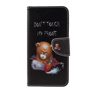 Cross Texture Patterned Wallet Leather Case for with Magnet for Sony Xperia XZ3 - Angry Bear