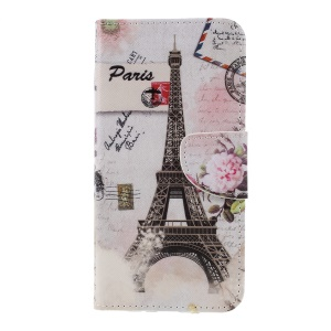 Cross Texture Patterned Wallet Leather Flip Case for Sony Xperia XZ3 - Eiffel Tower