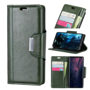 Glossy PU Leather Wallet Shell Case for Sony Xperia XZ3 - Army Green