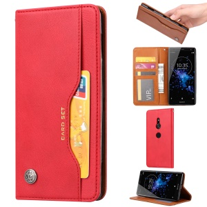 Auto-absorbed PU Leather Cover with Wallet Stand for Sony Xperia XZ3 - Red