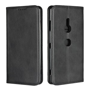 Auto-absorbed Leather Wallet Case with Stand for Sony Xperia XZ3 - Black