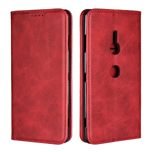 Auto-absorbed Leather Wallet Cover with Stand for Sony Xperia XZ3 - Red