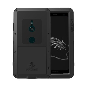 LOVE MEI Dust-proof Shock-proof Splash-proof Powerful Metal + Silicone Defender Case for Sony Xperia XZ3 - Black