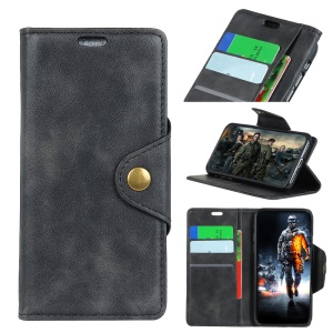 PU Leather Case for Sony Xperia XA3 Stand Wallet Phone Cover - Black