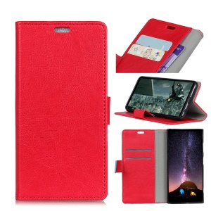 Crazy Horse Leather Wallet Cover for Sony Xperia 10 Plus - Red