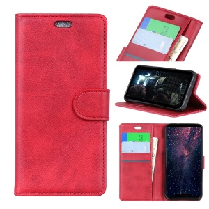 Pour Sony Xperia XA3 Ultra Mat PU Cuir Portefeuille Magnétique Protection Cas - Rouge