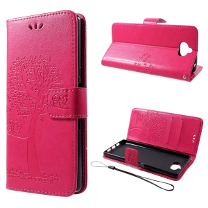 [Imprint Tree and Owls] Stand PU Leather Phone Case for Sony Xperia 10 - Rose