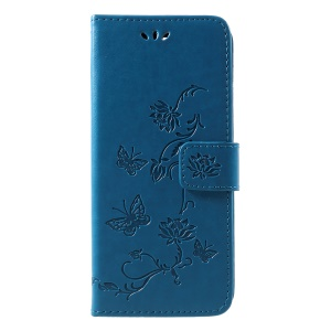 Imprint Butterfly Flower Magnetic PU Leather Protective Case for Sony Xperia 10 - Blue