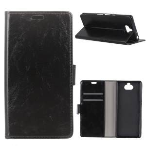 Crazy Horse Texture Wallet PU Leather Stand Phone Case for Sony Xperia 10 Plus - Black