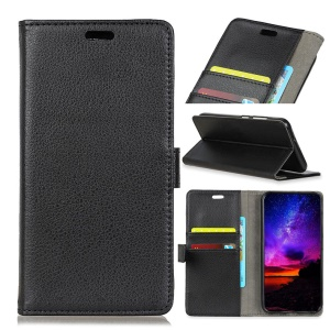 Litchi Texture Leather Wallet Protective Case for Sony Xperia 10 - Black