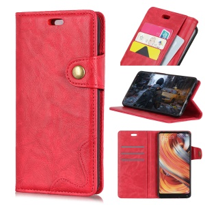 S-shape Textured PU Leather Wallet Stand Case for Sony Xperia 10 - Red
