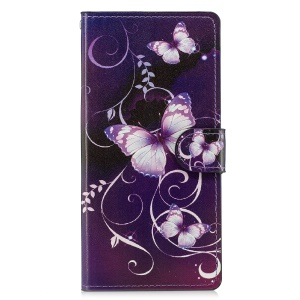 Pattern Printing PU Leather Wallet Case for Sony Xperia XZ3 - Purple Butterflies